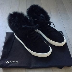 Vince Nyack Suede, Rabbit Fur-Cuff Sneaker, Black